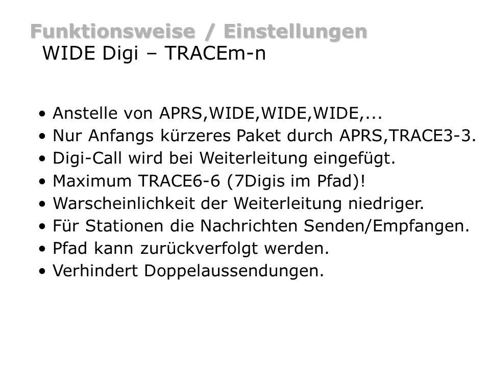 Funktionsweise / Einstellungen WIDE Digi – TRACEm-n Anstelle von APRS,WIDE,WIDE,WIDE,... Nur Anfangs kürzeres Paket durch APRS,TRACE3-3. Digi-Call wir