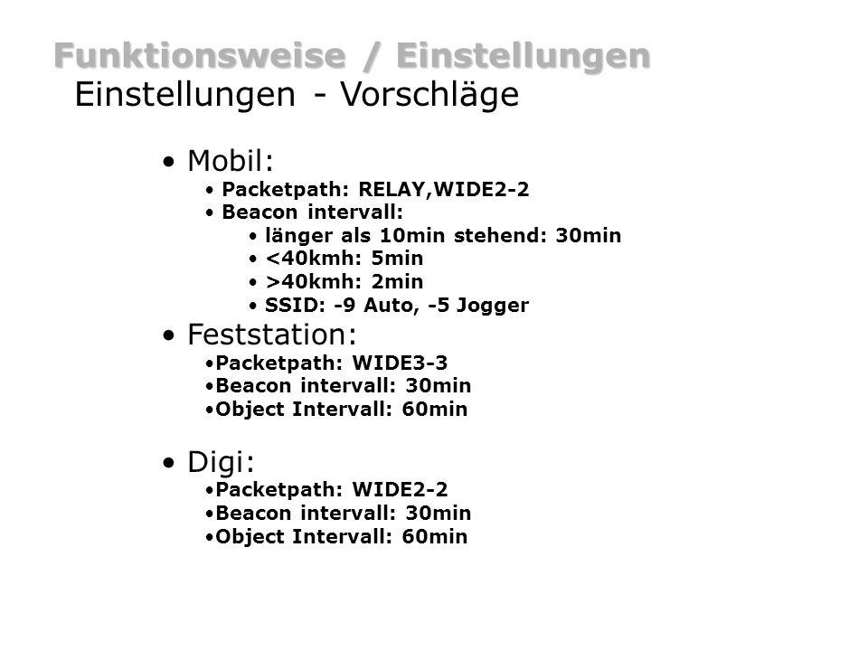 Funktionsweise / Einstellungen Einstellungen - Vorschläge Mobil: Packetpath: RELAY,WIDE2-2 Beacon intervall: länger als 10min stehend: 30min <40kmh: 5