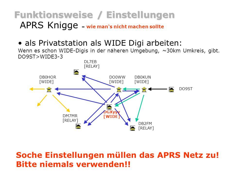 Funktionsweise / Einstellungen APRS Knigge – wie mans nicht machen sollte als Privatstation als WIDE Digi arbeiten: Wenn es schon WIDE-Digis in der nä
