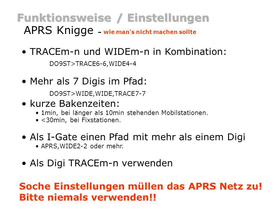Funktionsweise / Einstellungen APRS Knigge – wie mans nicht machen sollte TRACEm-n und WIDEm-n in Kombination: DO9ST>TRACE6-6,WIDE4-4 Mehr als 7 Digis