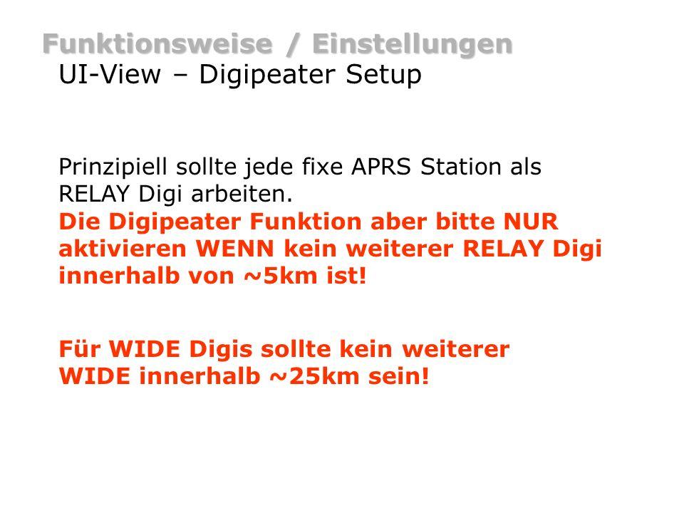 Funktionsweise / Einstellungen UI-View – Digipeater Setup Prinzipiell sollte jede fixe APRS Station als RELAY Digi arbeiten. Die Digipeater Funktion a