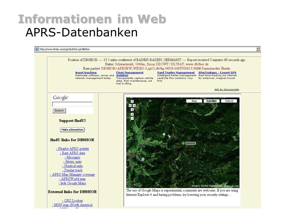 Informationen im Web APRS-Datenbanken