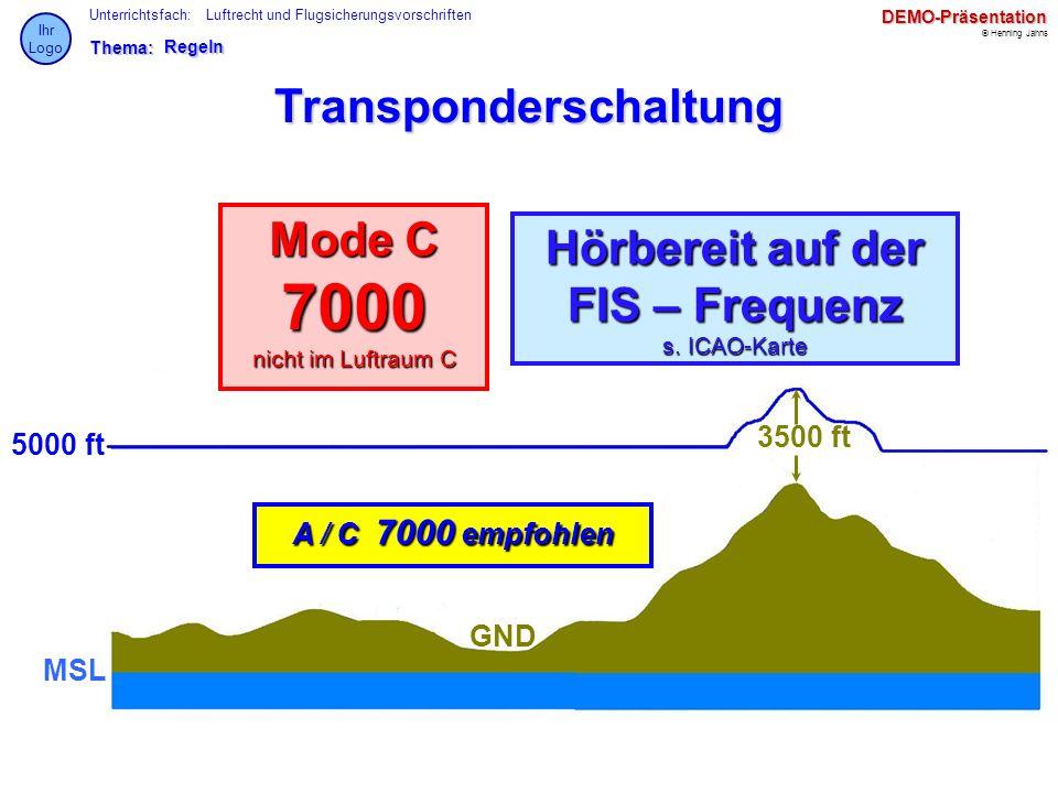 Thema: Unterrichtsfach: © Henning Jahns Ihr LogoDEMO-Präsentation Luftrecht und FlugsicherungsvorschriftenRegeln Transponderschaltung A / C 7000 empfo