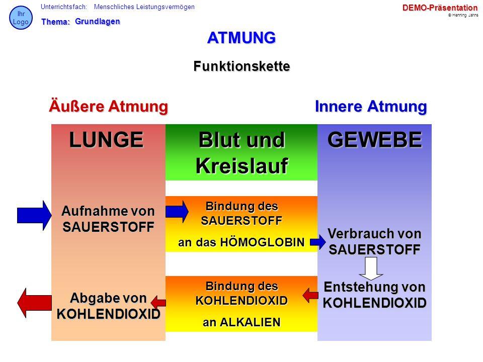 Thema: Unterrichtsfach: © Henning Jahns Ihr LogoDEMO-Präsentation Menschliches LeistungsvermögenGrundlagen ATMUNG Funktionskette Äußere AtmungInnere A