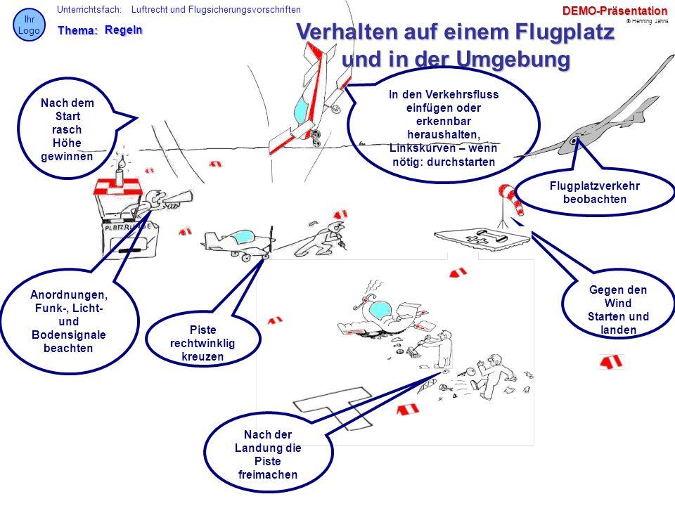 Thema: Unterrichtsfach: © Henning Jahns Ihr LogoDEMO-Präsentation Luftrecht und FlugsicherungsvorschriftenRegeln Verhalten auf einem Flugplatz und in