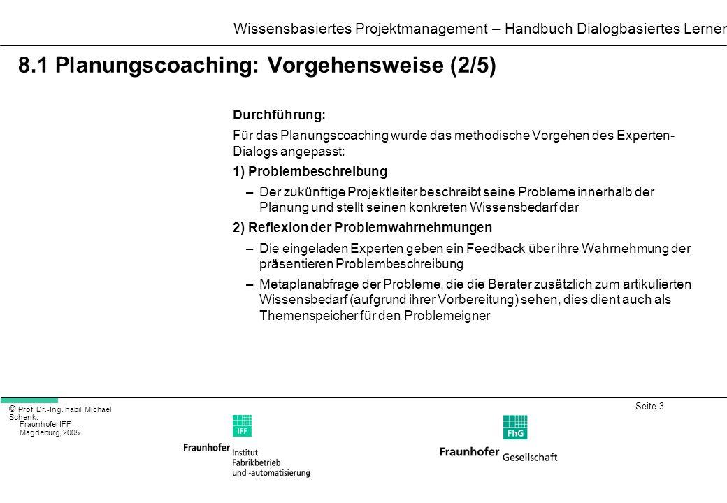 Seite 3 Wissensbasiertes Projektmanagement – Handbuch Dialogbasiertes Lernen © Prof. Dr.-Ing. habil. Michael Schenk: Fraunhofer IFF Magdeburg, 2005 8.