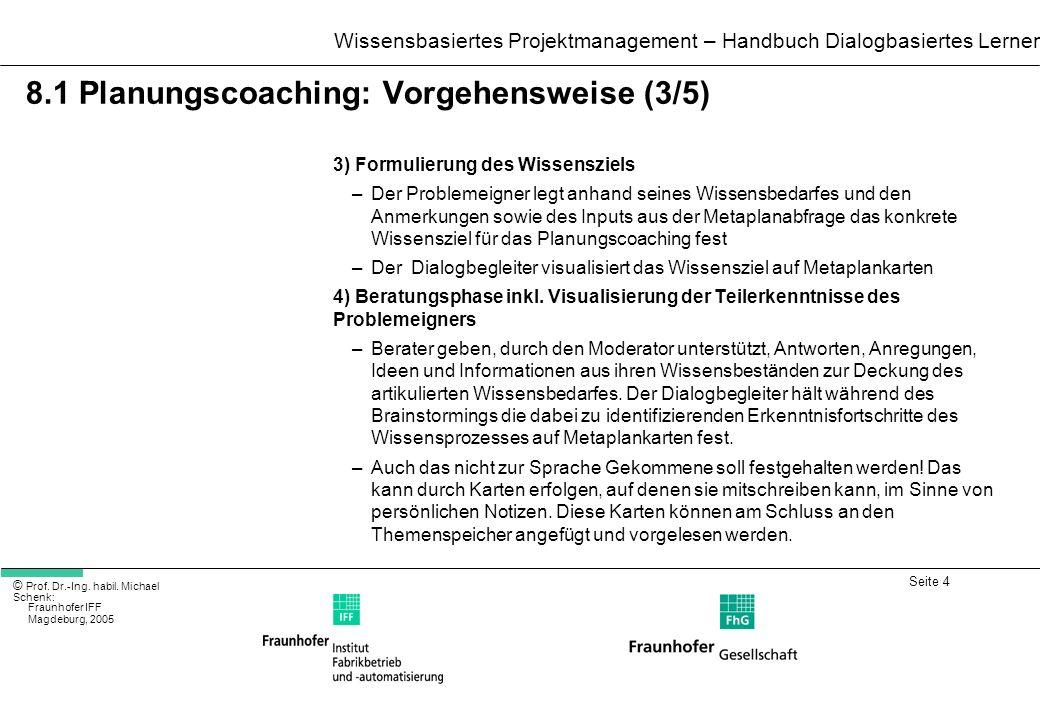 Seite 4 Wissensbasiertes Projektmanagement – Handbuch Dialogbasiertes Lernen © Prof. Dr.-Ing. habil. Michael Schenk: Fraunhofer IFF Magdeburg, 2005 8.