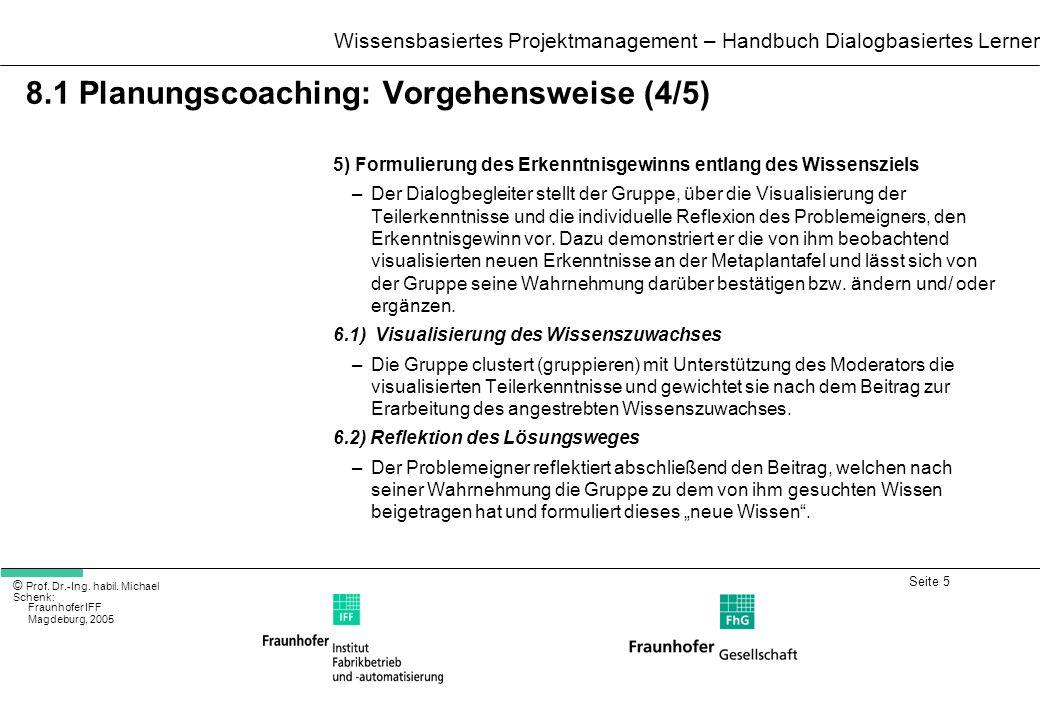 Seite 5 Wissensbasiertes Projektmanagement – Handbuch Dialogbasiertes Lernen © Prof. Dr.-Ing. habil. Michael Schenk: Fraunhofer IFF Magdeburg, 2005 8.