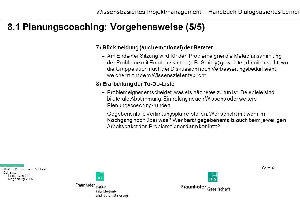Seite 6 Wissensbasiertes Projektmanagement – Handbuch Dialogbasiertes Lernen © Prof. Dr.-Ing. habil. Michael Schenk: Fraunhofer IFF Magdeburg, 2005 8.