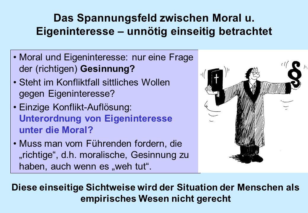 Das Spannungsfeld zwischen Moral u. Eigeninteresse – unnötig einseitig betrachtet Moral und Eigeninteresse: nur eine Frage der (richtigen) Gesinnung?