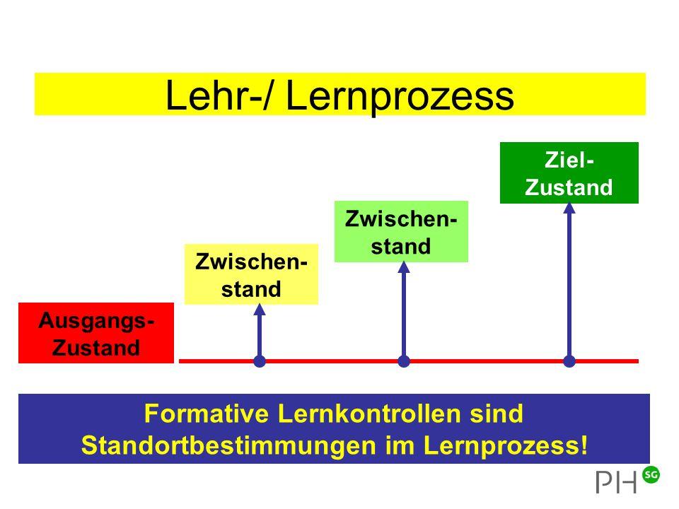 Lehr-/ Lernprozess Formative Lernkontrollen sind Standortbestimmungen im Lernprozess.