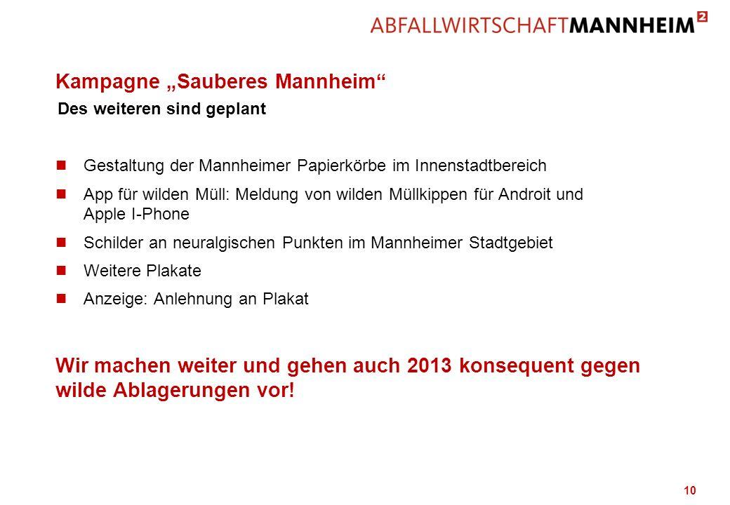 Kampagne Sauberes Mannheim n Gestaltung der Mannheimer Papierkörbe im Innenstadtbereich n App für wilden Müll: Meldung von wilden Müllkippen für Andro