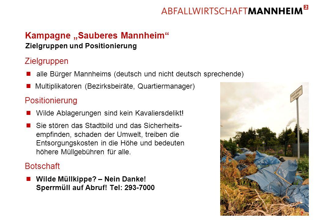 Kampagne Sauberes Mannheim Zielgruppen n alle Bürger Mannheims (deutsch und nicht deutsch sprechende) n Multiplikatoren (Bezirksbeiräte, Quartiermanag