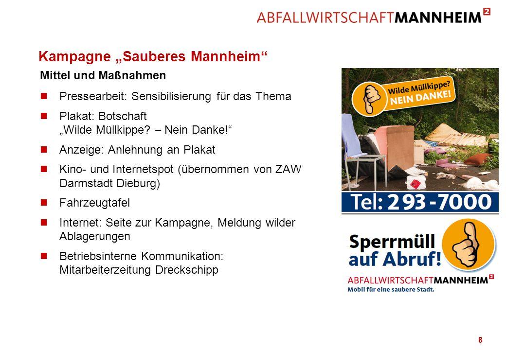 Kampagne Sauberes Mannheim n Pressearbeit: Sensibilisierung für das Thema n Plakat: Botschaft Wilde Müllkippe? – Nein Danke! n Anzeige: Anlehnung an P