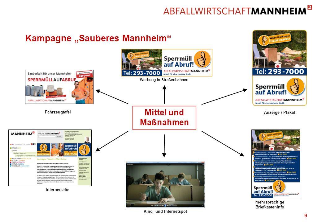 9 Kampagne Sauberes Mannheim Anzeige / Plakat Kino- und Internetspot Werbung in Straßenbahnen Internetseite Fahrzeugtafel Mittel und Maßnahmen mehrspr