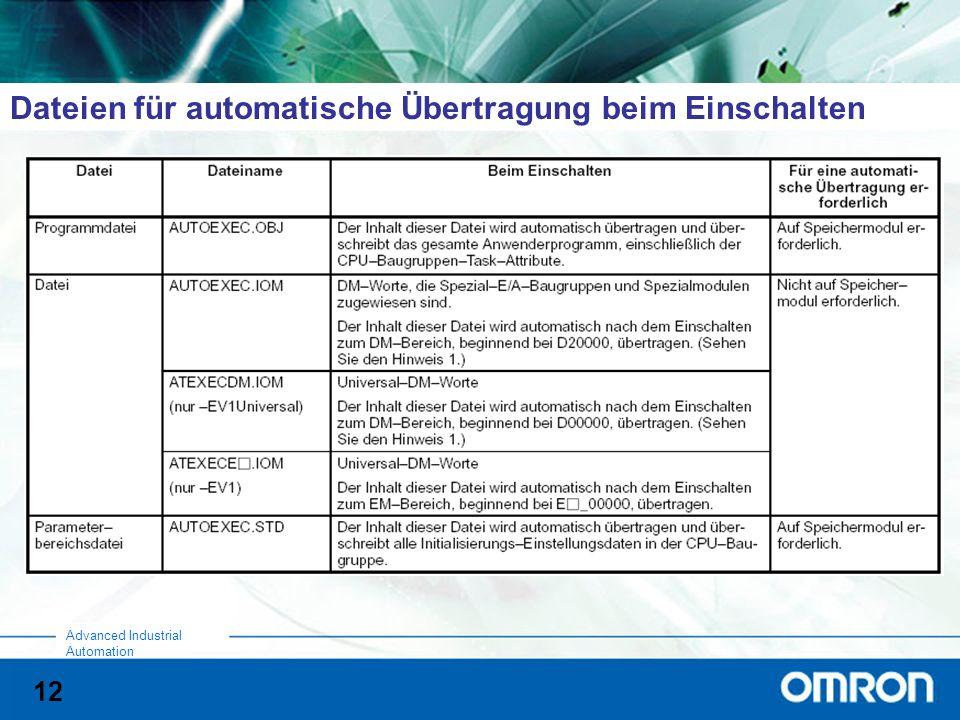 12 Advanced Industrial Automation Dateien für automatische Übertragung beim Einschalten