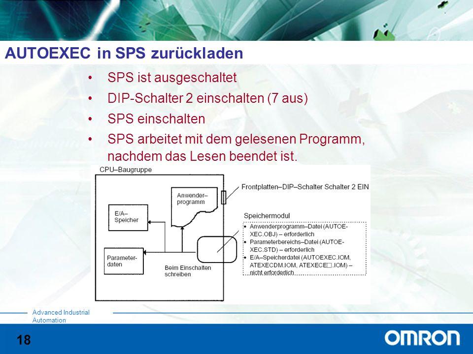 18 Advanced Industrial Automation AUTOEXEC in SPS zurückladen SPS ist ausgeschaltet DIP-Schalter 2 einschalten (7 aus) SPS einschalten SPS arbeitet mit dem gelesenen Programm, nachdem das Lesen beendet ist.