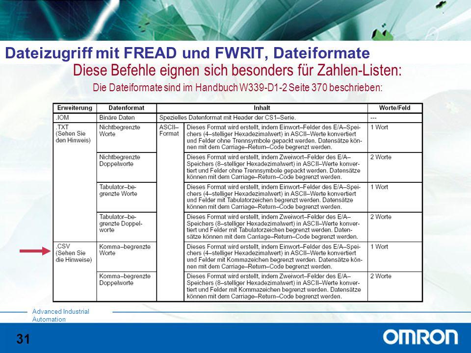31 Advanced Industrial Automation Dateizugriff mit FREAD und FWRIT, Dateiformate Diese Befehle eignen sich besonders für Zahlen-Listen: Die Dateiformate sind im Handbuch W339-D1-2 Seite 370 beschrieben: