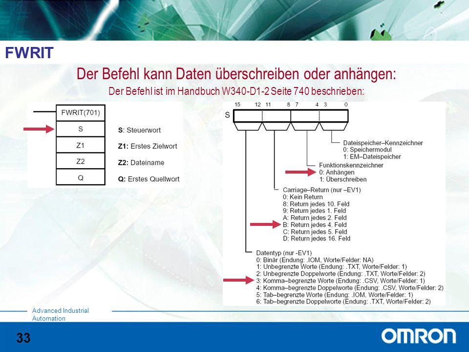 33 Advanced Industrial Automation FWRIT Der Befehl kann Daten überschreiben oder anhängen: Der Befehl ist im Handbuch W340-D1-2 Seite 740 beschrieben: