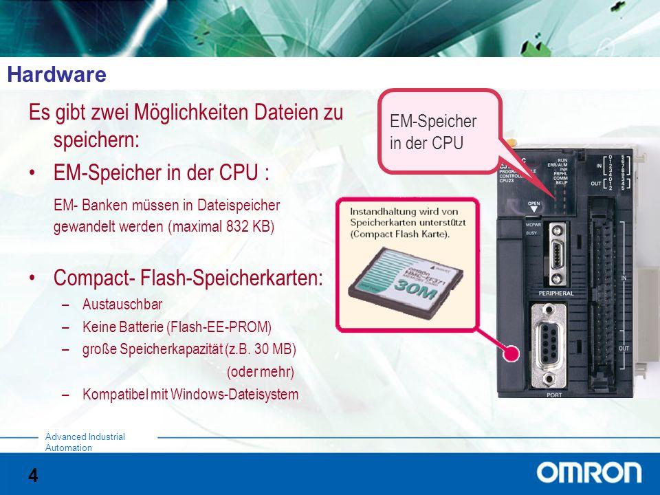4 Advanced Industrial Automation Hardware Es gibt zwei Möglichkeiten Dateien zu speichern: EM-Speicher in der CPU : EM- Banken müssen in Dateispeicher gewandelt werden (maximal 832 KB) Compact- Flash-Speicherkarten: –Austauschbar –Keine Batterie (Flash-EE-PROM) –große Speicherkapazität (z.B.