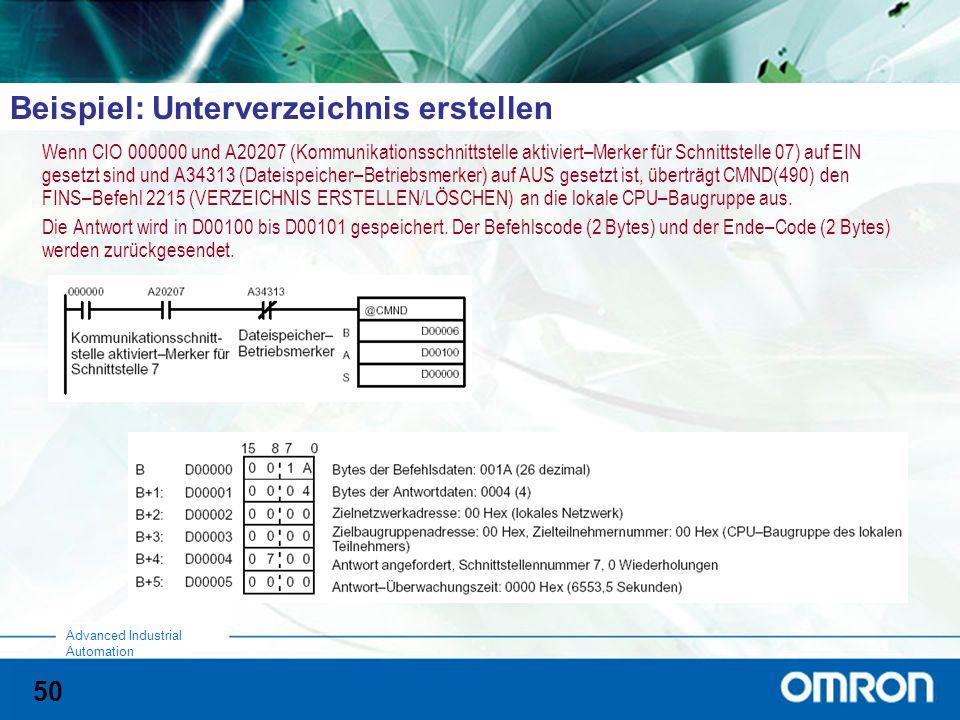 50 Advanced Industrial Automation Beispiel: Unterverzeichnis erstellen Wenn CIO 000000 und A20207 (Kommunikationsschnittstelle aktiviert–Merker für Schnittstelle 07) auf EIN gesetzt sind und A34313 (Dateispeicher–Betriebsmerker) auf AUS gesetzt ist, überträgt CMND(490) den FINS–Befehl 2215 (VERZEICHNIS ERSTELLEN/LÖSCHEN) an die lokale CPU–Baugruppe aus.