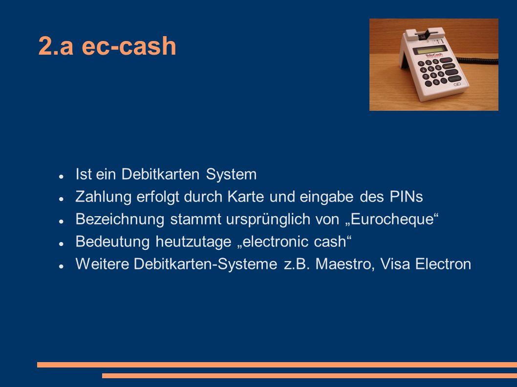 2.a ec-cash Vorteil für den Händler: nicht bei jedem Bezahlvorgang fallen Leitungskosten an Nachteile für den Nutzer: Nach drei PIN-Falscheingaben ist der Chip gesperrt Kann nur an einem BSFT Terminal entsperrt werden