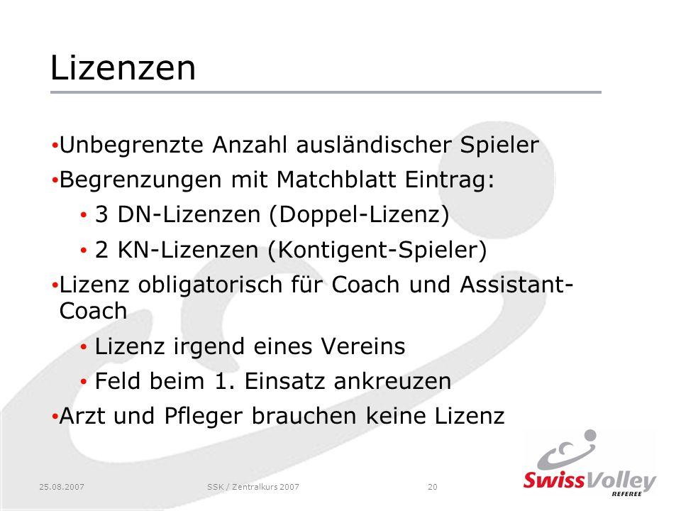 25.08.2007SSK / Zentralkurs 200720 Lizenzen Unbegrenzte Anzahl ausländischer Spieler Begrenzungen mit Matchblatt Eintrag: 3 DN-Lizenzen (Doppel-Lizenz