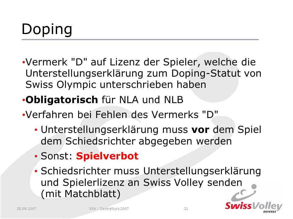 25.08.2007SSK / Zentralkurs 200721 Doping Vermerk