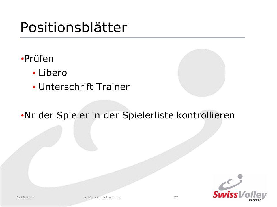 25.08.2007SSK / Zentralkurs 200722 Positionsblätter Prüfen Libero Unterschrift Trainer Nr der Spieler in der Spielerliste kontrollieren