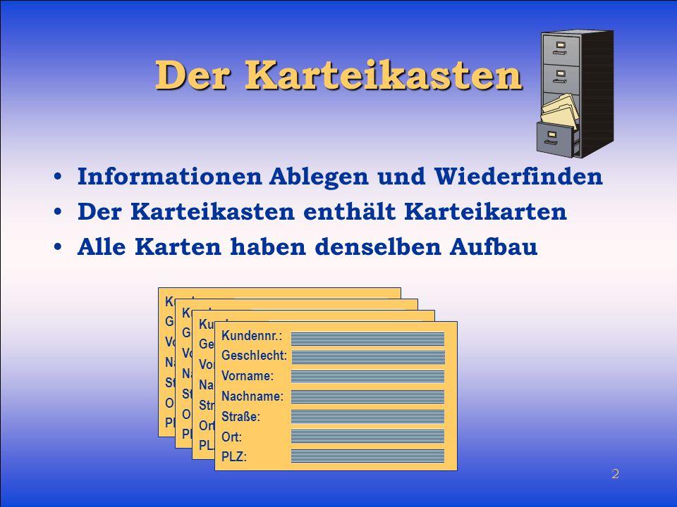 3 Die Tabelle Zeigt nicht nur die Informationen einer einzelnen Karteikarte, sondern alle zum Karteikasten gehörenden Karten Datensatz Datenfeld