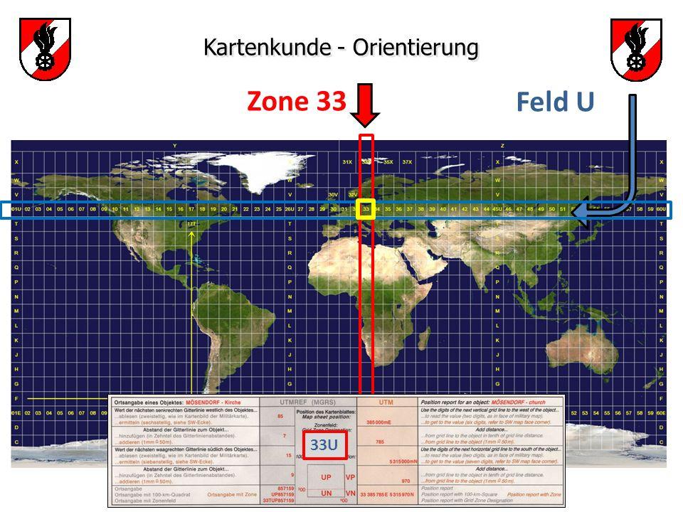 Zone 33 Feld U Kartenkunde - Orientierung 33U