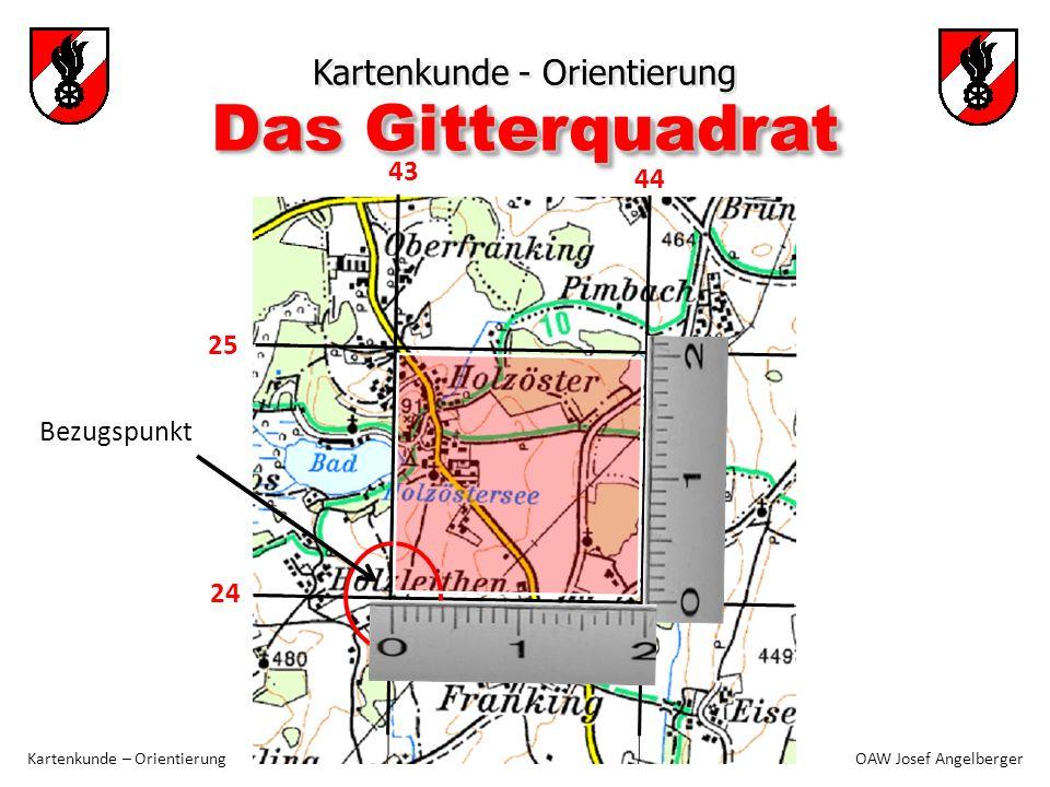 24 44 25 43 Kartenkunde - Orientierung Kartenkunde – Orientierung OAW Josef Angelberger Gitterquadrat Das Gitterquadrat Bezugspunkt