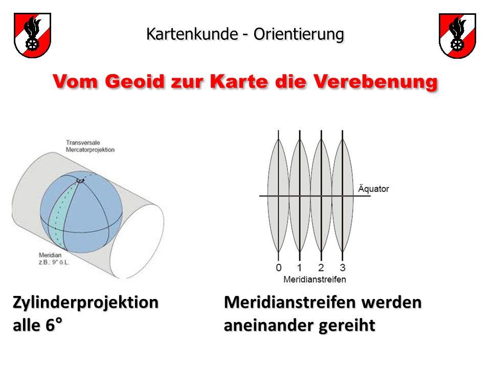 Kartenkunde - Orientierung Zylinderprojektion alle 6° Meridianstreifen werden aneinander gereiht Vom Geoid zur Karte die Verebenung