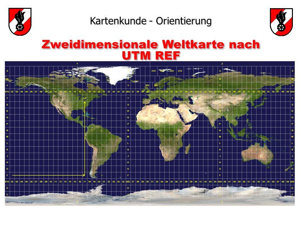 Kartenkunde - Orientierung Zweidimensionale Weltkarte nach UTM REF