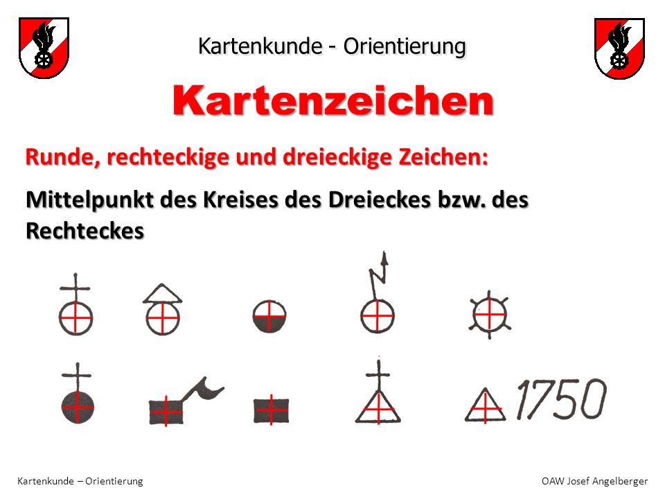 Kartenkunde - Orientierung Kartenkunde – Orientierung OAW Josef Angelberger Mittelpunkt des Kreises des Dreieckes bzw. des Rechteckes Kartenzeichen Ru