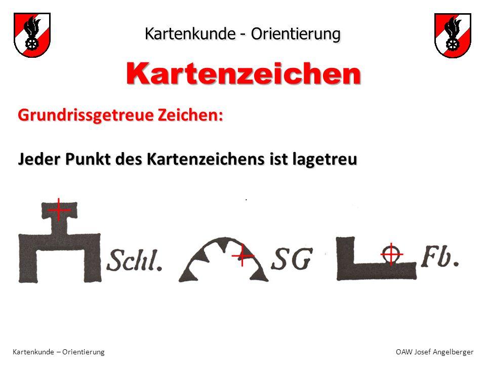 Kartenkunde - Orientierung Kartenkunde – Orientierung OAW Josef Angelberger Kartenzeichen Jeder Punkt des Kartenzeichens ist lagetreu Grundrissgetreue Zeichen: