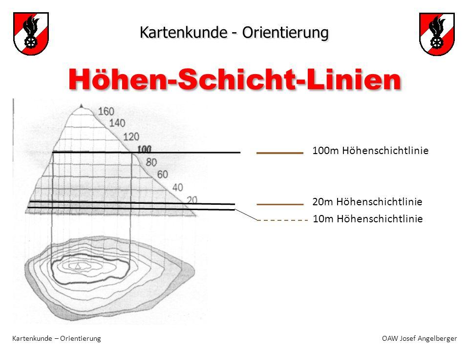 Kartenkunde - Orientierung Kartenkunde – Orientierung OAW Josef Angelberger Höhen-Schicht-Linien 100m Höhenschichtlinie 20m Höhenschichtlinie 10m Höhe
