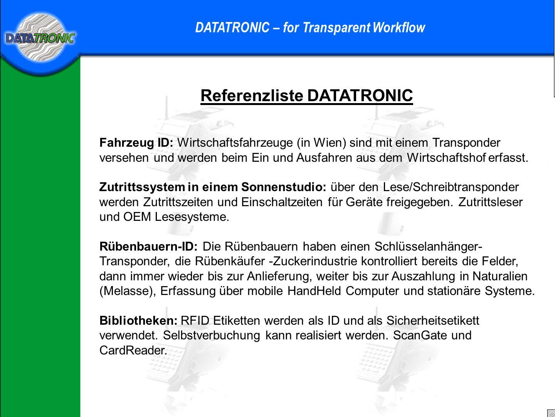 Referenzliste Datatronic DATATRONIC – for Transparent Workflow Ski-Zentren: Zutrittskontrolle mit Schreib-Lese-Karten und Reader Fensterglas Produktio