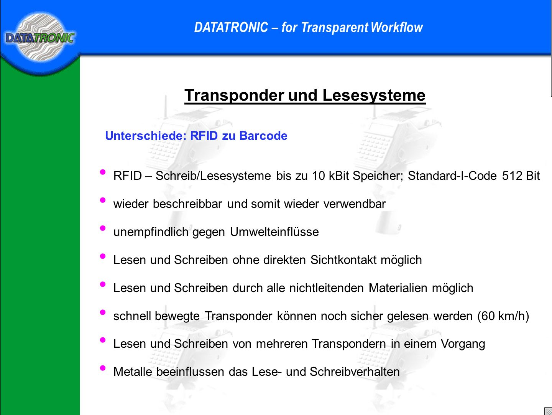 Praktisches Beispiel DATATRONIC – for Transparent Workflow Im Lager sind (teilweise) Regal-Transponder, zum speichern der Einlagerposition der Boxen.