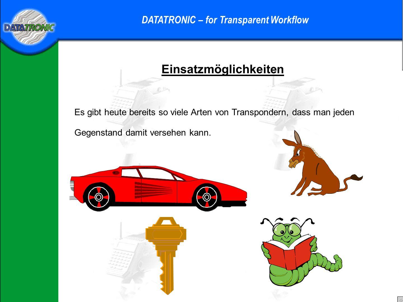 Transponder und Lesesysteme DATATRONIC – for Transparent Workflow RFID – Schreib/Lesesysteme bis zu 10 kBit Speicher; Standard-I-Code 512 Bit wieder beschreibbar und somit wieder verwendbar unempfindlich gegen Umwelteinflüsse Lesen und Schreiben ohne direkten Sichtkontakt möglich Lesen und Schreiben durch alle nichtleitenden Materialien möglich schnell bewegte Transponder können noch sicher gelesen werden (60 km/h) Lesen und Schreiben von mehreren Transpondern in einem Vorgang Metalle beeinflussen das Lese- und Schreibverhalten Unterschiede: RFID zu Barcode