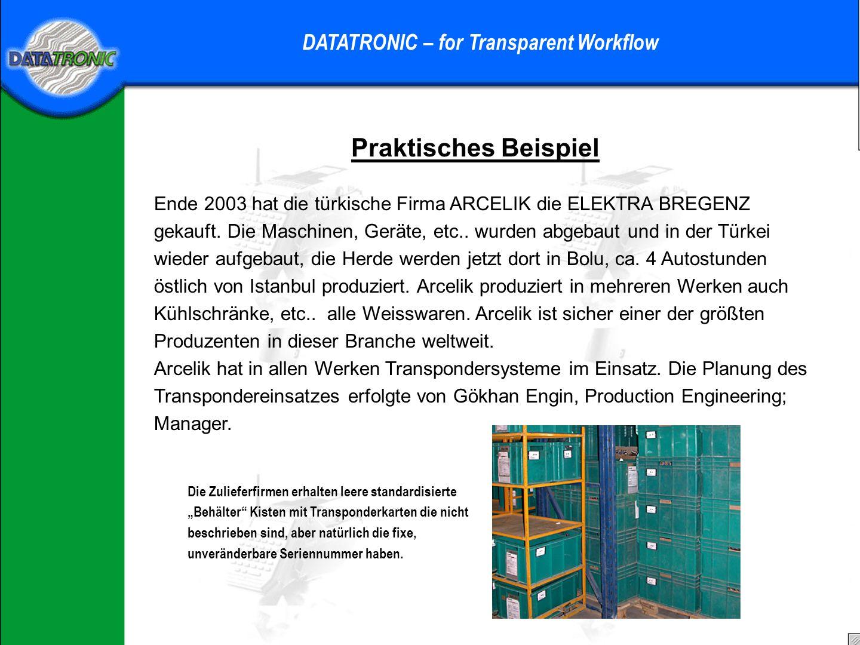Einsatzmöglichkeiten DATATRONIC – for Transparent Workflow Warum wird dort bereits Transponder-Technologie verwendet.