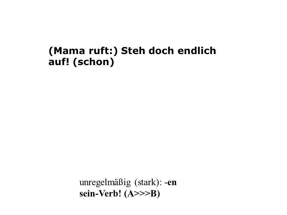(Mama ruft:) Steh doch endlich auf! (schon) unregelmäßig (stark): -en sein-Verb! (A>>>B)
