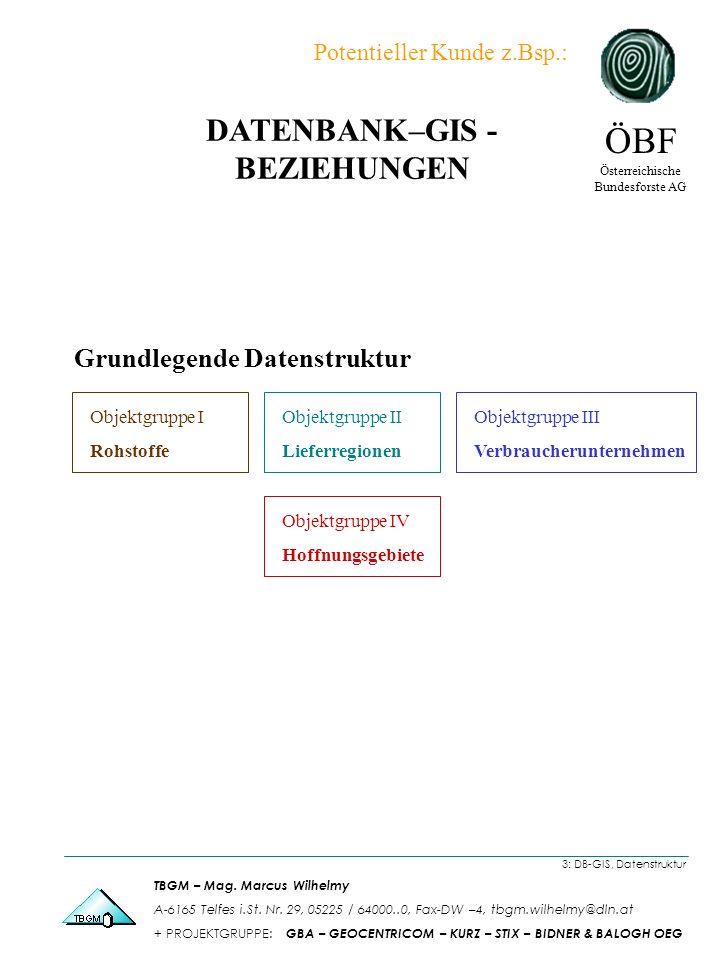 Grundlegende Datenstruktur Objektgruppe I Rohstoffe Objektgruppe II Lieferregionen Objektgruppe III Verbraucherunternehmen Objektgruppe IV Hoffnungsgebiete 3: DB-GIS, Datenstruktur ÖBF Österreichische Bundesforste AG TBGM – Mag.