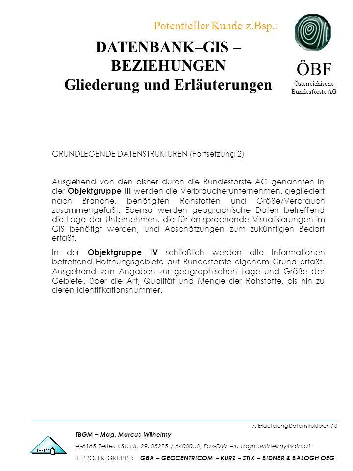 DATENBANK–GIS – BEZIEHUNGEN Gliederung und Erläuterungen ÖBF Österreichische Bundesforste AG TBGM – Mag.