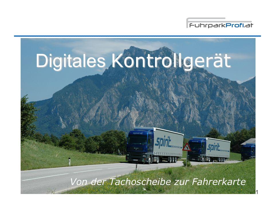 2 Programm Tachoscheibe – Fahrerkarte Digitales Kontrollgerät Anträge für Fahrer-/ Unternehmerkarten Piktogramme, Ausdrucke Pflichten des Lenkers Datenspeicherung Kontrolle EU 3820/85