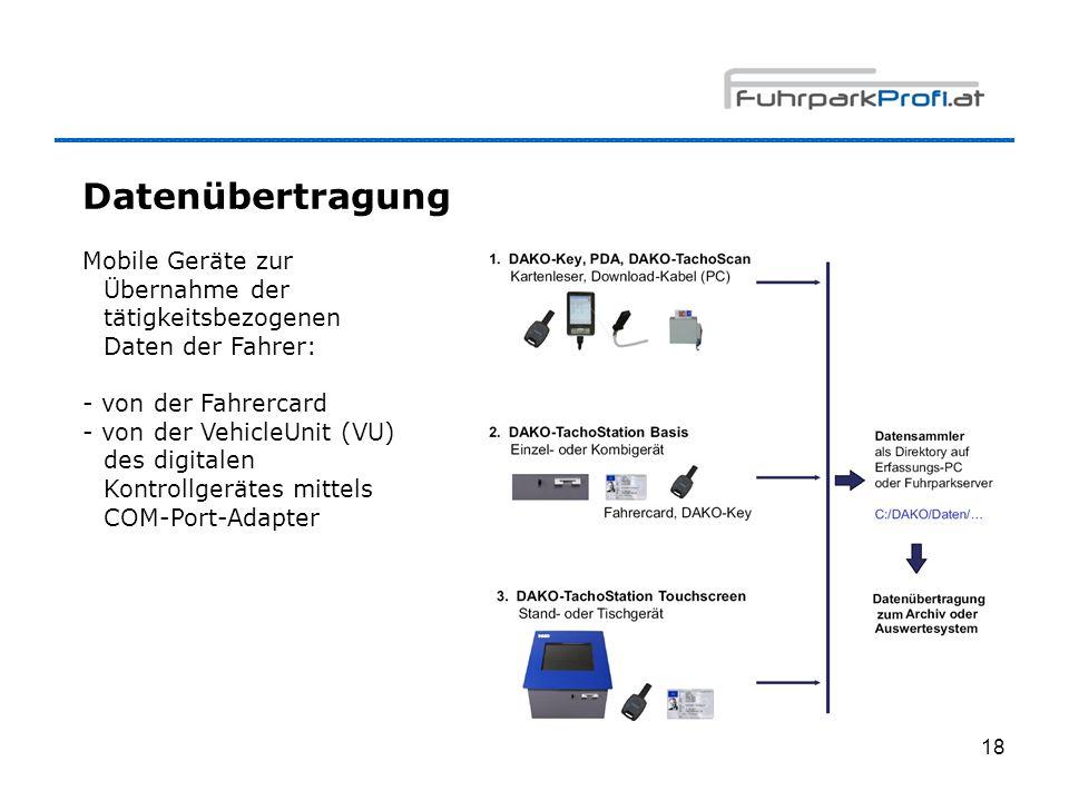 18 Datenübertragung Mobile Geräte zur Übernahme der tätigkeitsbezogenen Daten der Fahrer: - von der Fahrercard - von der VehicleUnit (VU) des digitale