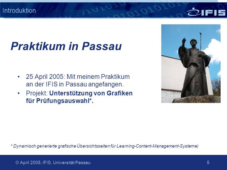 © April 2005, IFIS, Universität Passau 6 Introduktion Es gibt wenig gute Praktikumsstellen in Groningen oder Amsterdam.