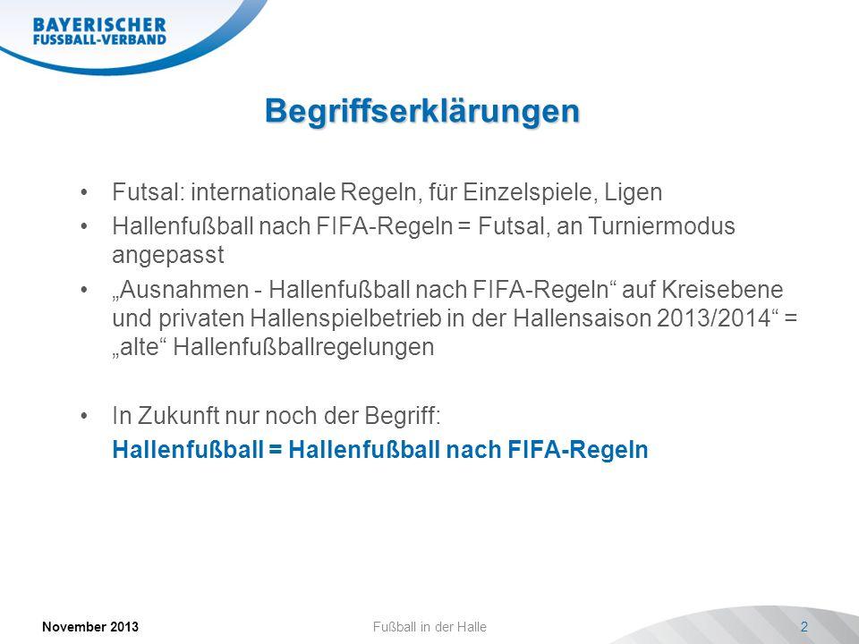 Begriffserklärungen November 2013Fußball in der Halle2 Futsal: internationale Regeln, für Einzelspiele, Ligen Hallenfußball nach FIFA-Regeln = Futsal,