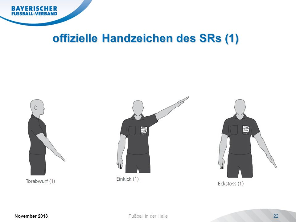 offizielle Handzeichen des SRs (1) November 2013Fußball in der Halle22