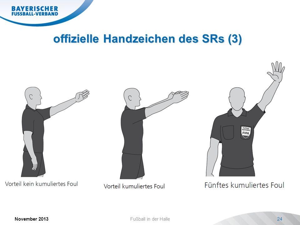 offizielle Handzeichen des SRs (3) November 2013Fußball in der Halle24